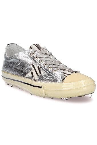 Golden Goose / Sneakers V-Star 2, cuir argenté étoile zébrée
