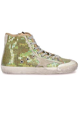 Golden Goose / Sneakers Francy, paillettes jaunes
