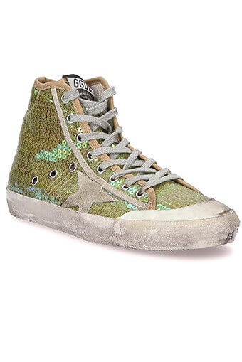 Golden Goose / Sneakers Francy, paillettes jaunes
