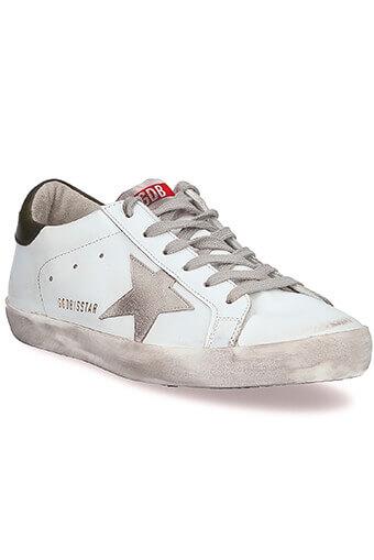 Golden Goose / Sneakers Superstar, blanche et vert militaire