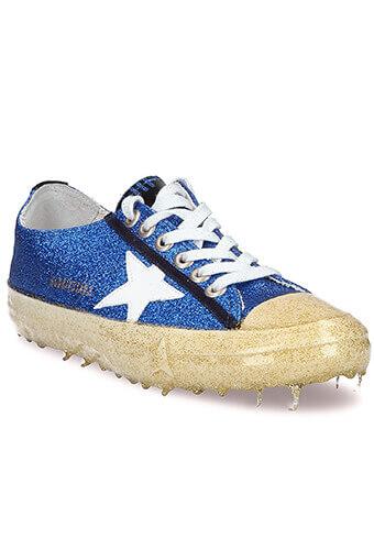 Golden Goose / Sneakers V-Star 2, paillettes bleues et or