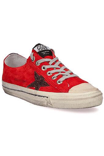 Golden Goose / Sneakers V-Star 2, rouge et étoile de paillettes bronze