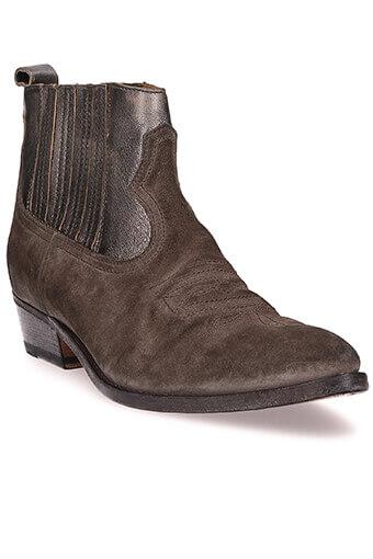 Golden Goose / Boots Arlene, cuir marron et argent laminé