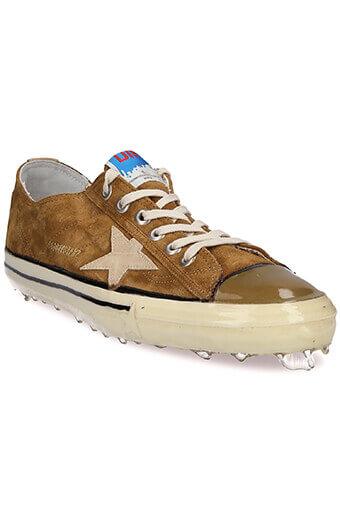 Golden Goose / Sneakers V-Star 2, daim olive et étoile beige