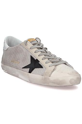Golden Goose / Sneakers Superstar Homme, Lurex argent et étoile noir