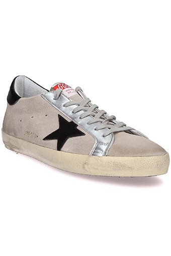 Golden Goose / Sneakers Superstar, daim gris, étoile et patch noir