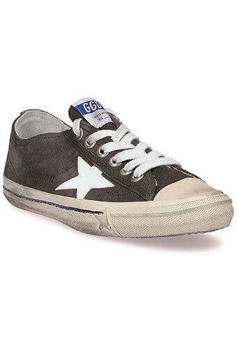 Golden Goose / Sneakers V-Star 2 vert militaire et étoile blanche