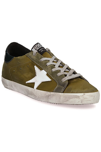 Golden Goose / Sneakers Superstar satin olive et étoile blanche