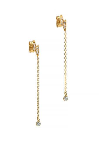 And... Paris / Boucles d'oreilles chaîne éclair diamants