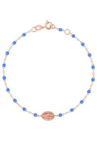 Gigi Clozeau / Bracelet or rose, perles de résine et médaille madone