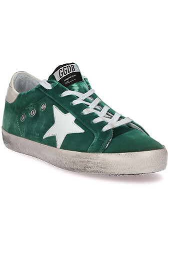 Golden Goose / Sneakers Superstar, velours vert