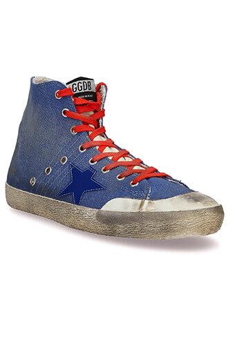 Golden Goose / Sneakers Francy toile bleu lacets rouges