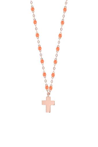 Gigi Clozeau / Collier or rose perles de résine et pendentif croix or rose