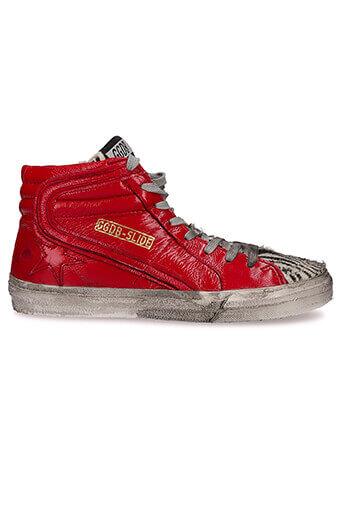 Golden Goose / Sneakers Slide en cuir rouge et zèbré