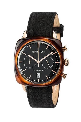 Briston / Montre Clubmaster Vintage Acétate chrono cadran noir or jaune