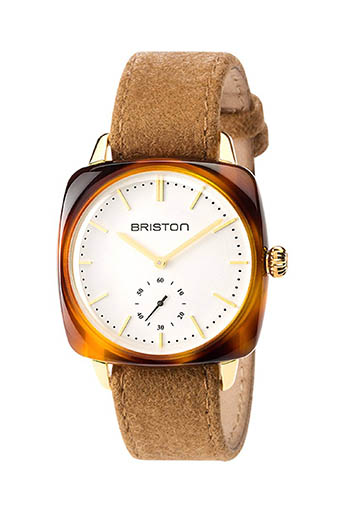 Briston / Montre Clubmaster Vintage Acétate Petite Seconde  cadran blanc  or jaune