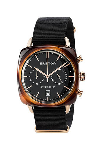 Briston / Clubmaster Vintage Acétate -Chronographe Gold cadran noir et or rose - NATO