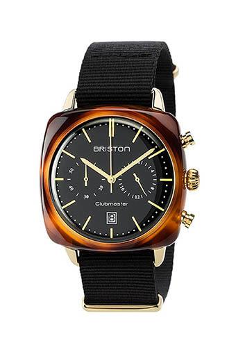 Briston / Clubmaster Vintage Acétate -Chronographe Gold cadran noir et or jaune - NATO