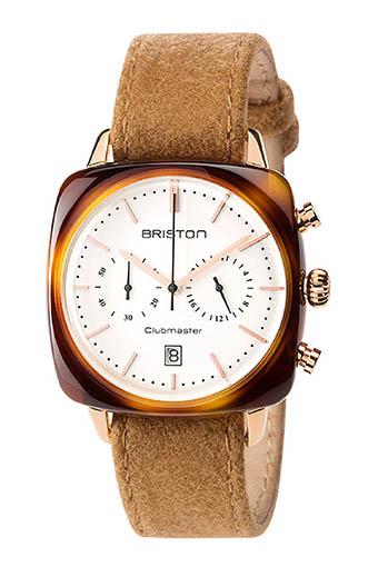 Briston / Clubmaster Vintage Acétate -Chronographe Gold cadran blanc et or rose - NATO