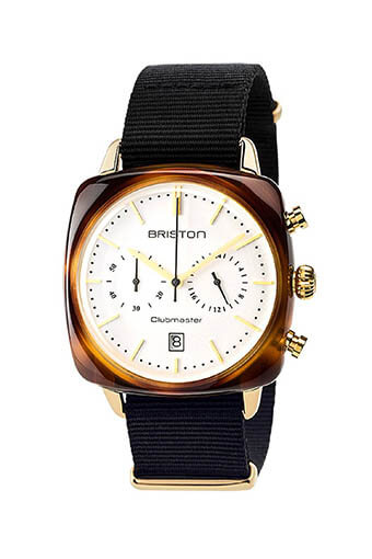 Briston / Clubmaster Vintage Acétate -Chronographe Gold cadran blanc et or jaune - NATO