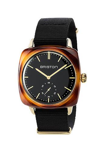 Briston / Clubmaster Vintage Acétate -Petite Seconde Gold cadran noir et or jaune - NATO