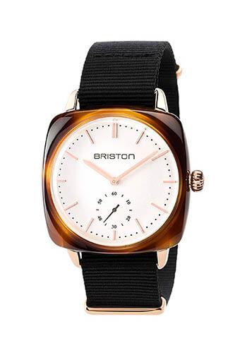Briston / Clubmaster Vintage Acétate -Petite Seconde Gold cadran blanc et or rose - NATO
