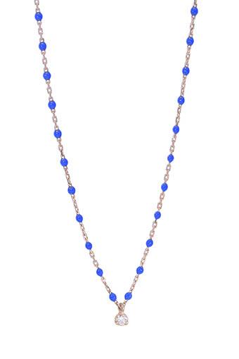 Gigi Clozeau / Collier en or rose, perles de résine et diamant 40 cm