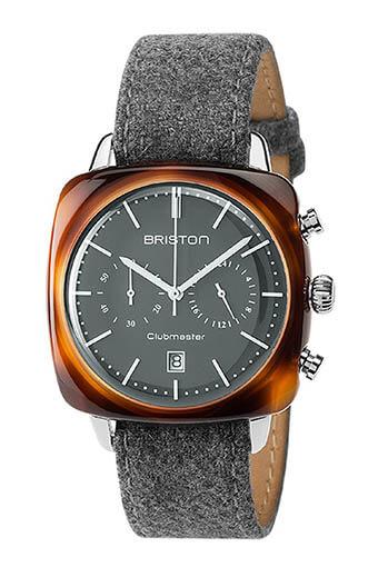 Briston / Clubmaster Vintage Acétate - Chronographe écaille de tortue cadran gris mat