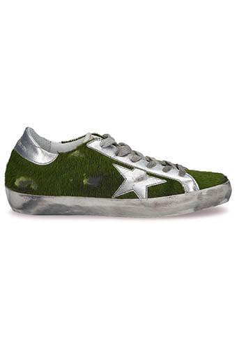 Golden Goose / Sneakers Superstar, poils vert
