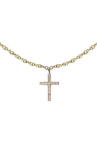 Anine Bing / Collier charm croix en or et diamant