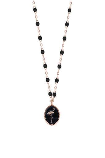Gigi Clozeau / Collier or rose, perles de résine et médaille flamant émaillée