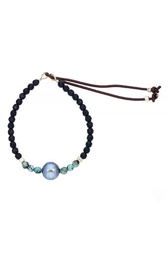Catherine Michiels / Bracelet agathe noire et perle Tahiti