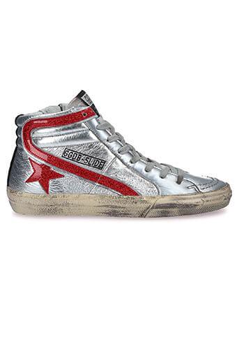 Golden Goose / Sneakers slide glitter star dance Silver red