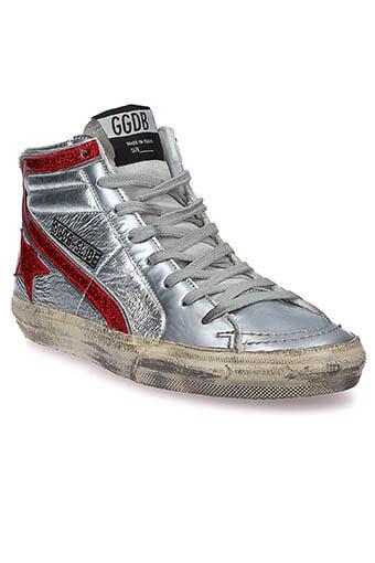 Golden Goose / Sneackers slide glitter star dance Silver red