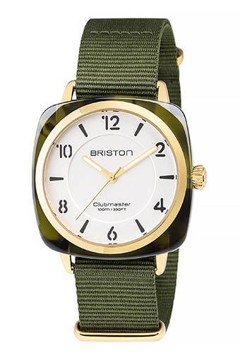 Briston / Clubmaster Chic Acétate - HMS écaille de tortue verte Gold cadran blanc
