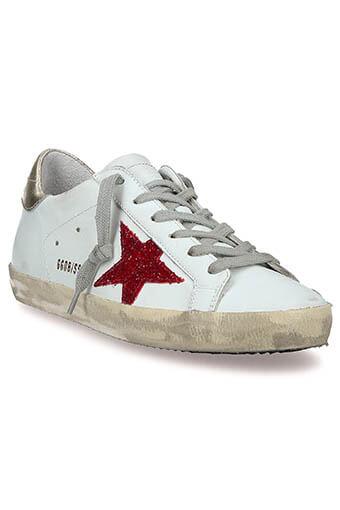 Golden Goose / Sneakers Superstar patch doré étoile paillettes rouges