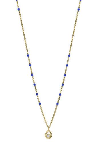 Gigi Clozeau / Collier or jaune, perles résine espacées et diamant poire.