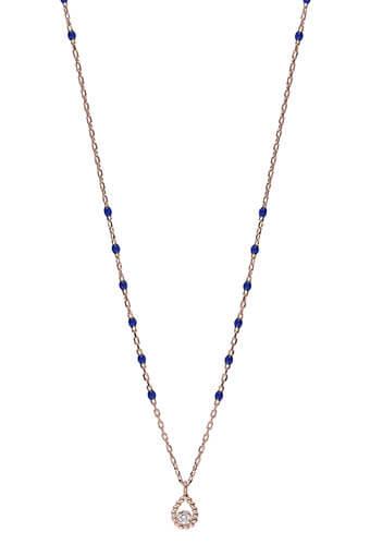 Gigi Clozeau / Collier or rose, perles résine espacées et diamant poire.