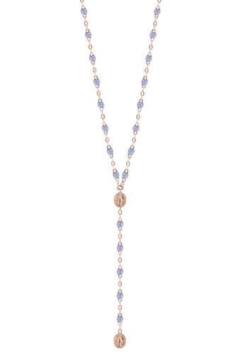 Gigi Clozeau / Collier chapelet madone or rose et résine diamant