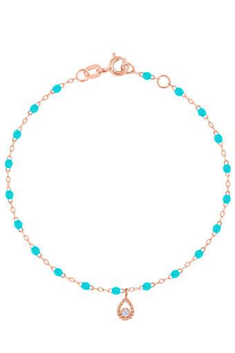 Gigi Clozeau / Bracelet or rose, perles résine et pendentif poire diamant.
