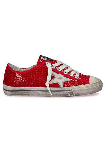 Golden Goose / Sneakers V-star 2, sequins rouges