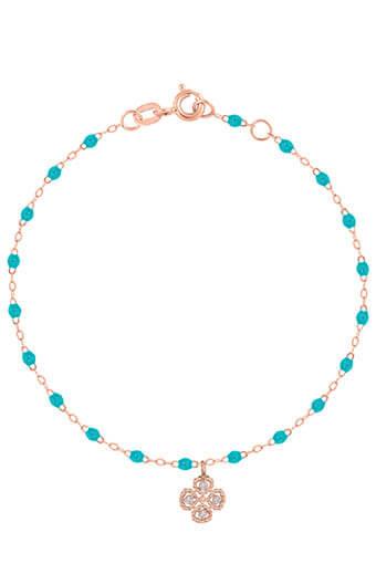 Gigi Clozeau / Bracelet or rose, perles de résine et diamant trèfle