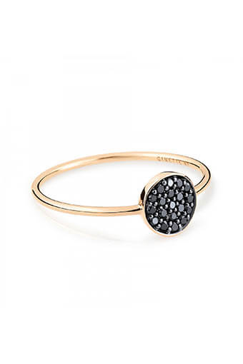 Ginette NY / Bague - Mini black diamond ever disc