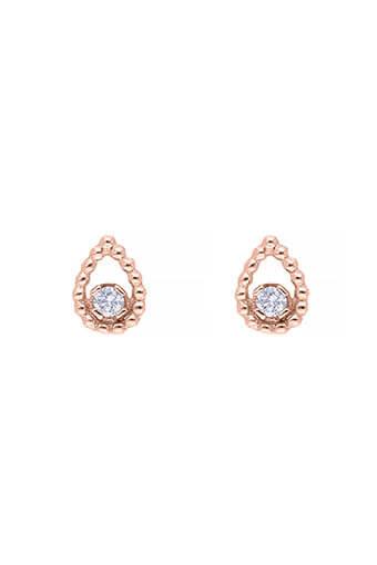 Gigi Clozeau / Boucles d'oreilles puces or rose poire et diamants Lucky