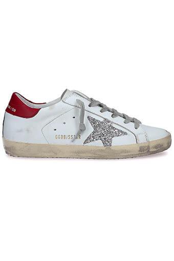 Golden Goose / Sneakers Superstar, patch rouge étoile pailletée