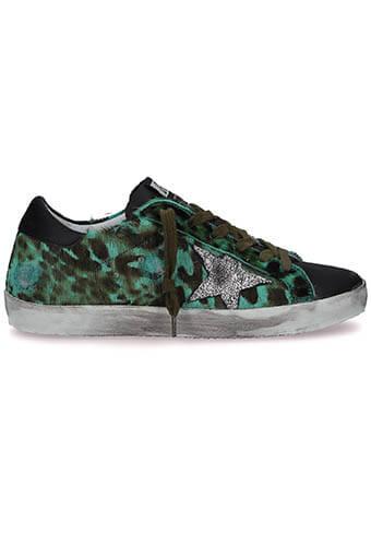 Golden Goose / Sneakers Superstar, léopard émeraude