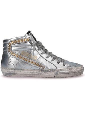 Golden Goose / Sneakers Slide, cuir argenté clous dorés