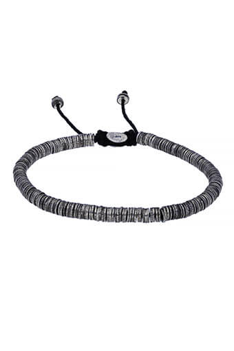 M.Cohen / Bracelet Stacked Carved Oxidized Disc