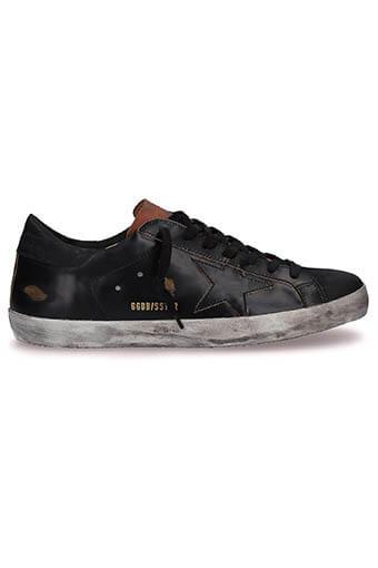 Golden Goose / Sneakers Superstar, cuir noir brossé