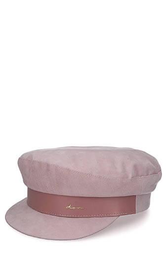 Don Paris / Casquette Marine, suédine rose